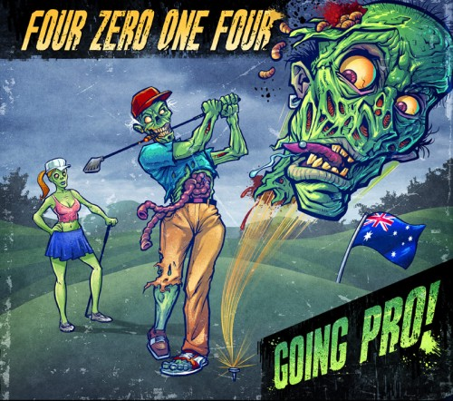 Album cover illustration of a zombie golfer swinging at a zombie head