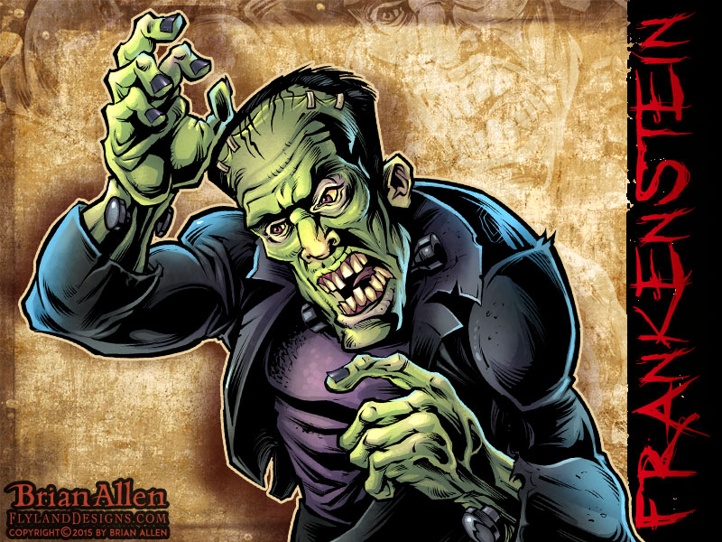 Horror Movie caricature of Frankenstein