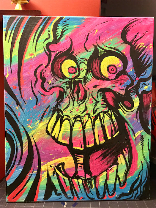 Original Acrylic Skull Blacklight Painting 16 Quot X 20