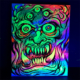 Colorful acrylic blacklight paintings of skull tiki and monster