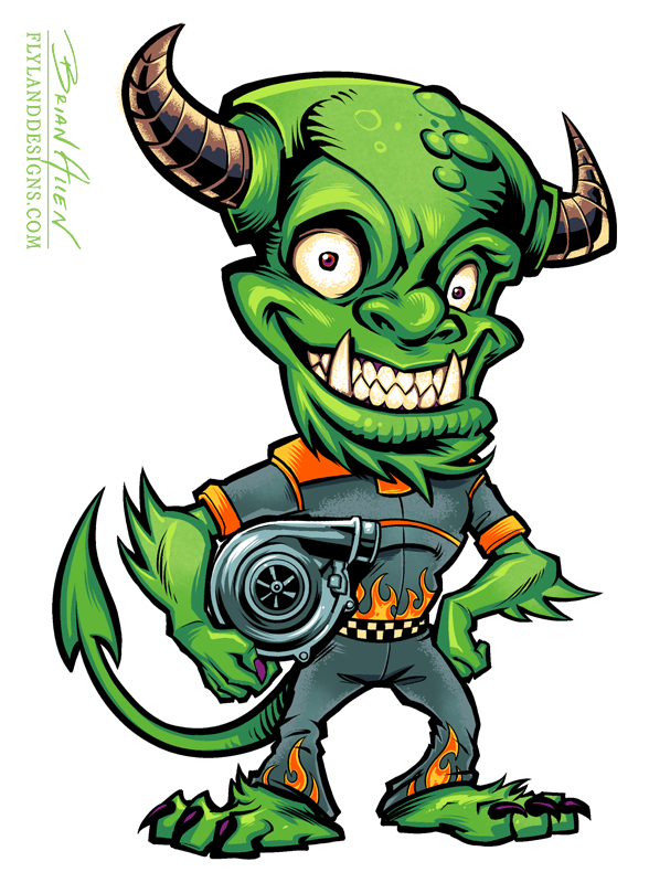 Monster Mascot holding turbo, for automobile repair company.