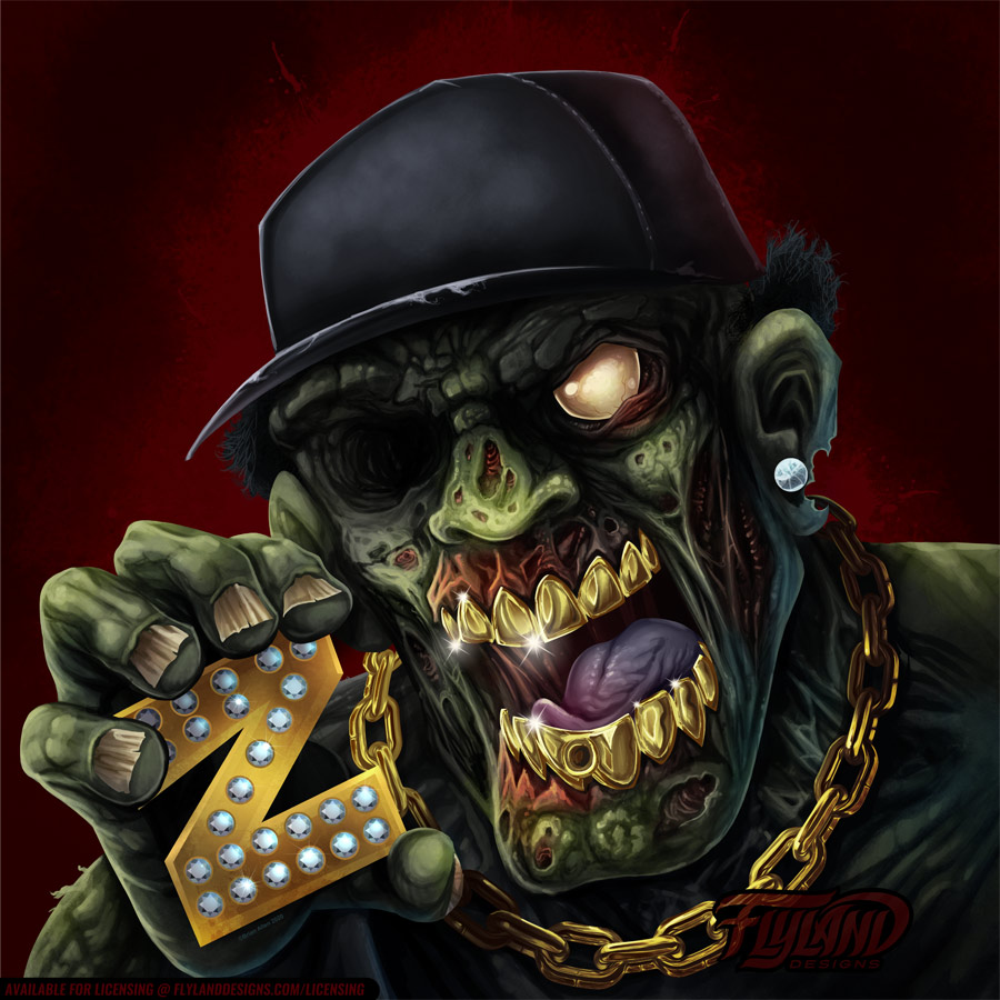 Gangster Zombie with gold teeth,