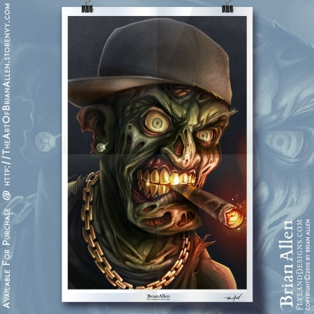 Art Print of a Gangster Zombie