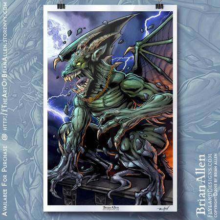 art print of an angry gargoyle