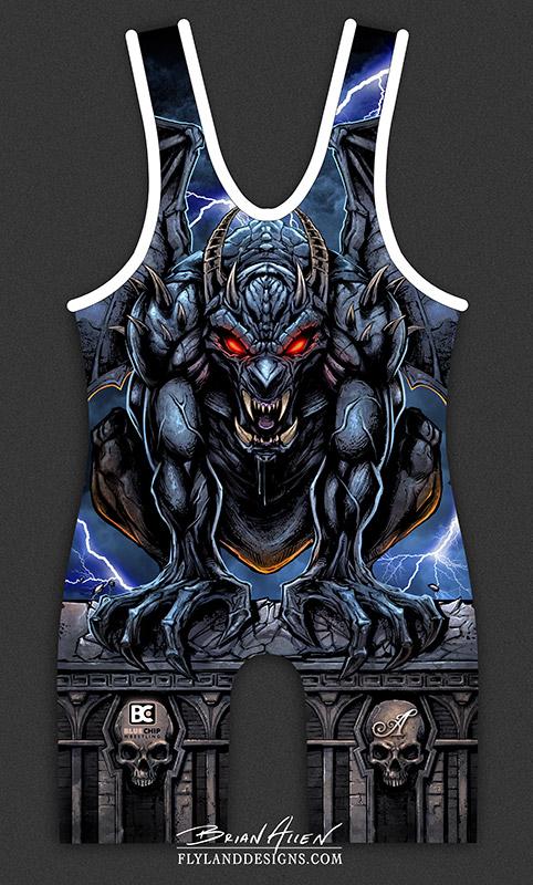 Evil Gargoyle Illustration for Dye-Sublimated Uniform
