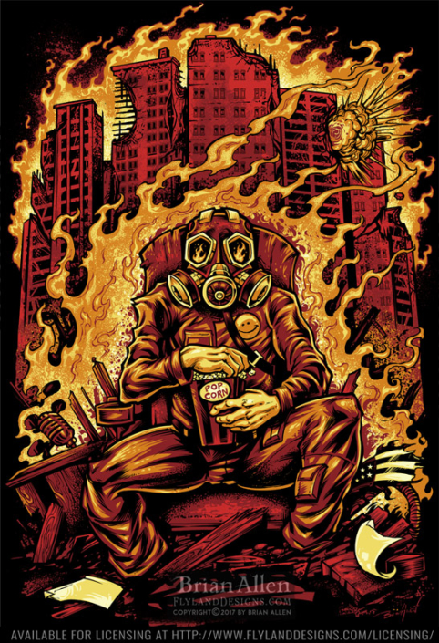 gas masked man sitting on a thro