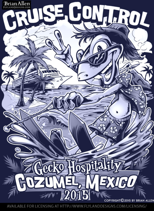 T-Shirt template of gecko water-skiing in tropical scene