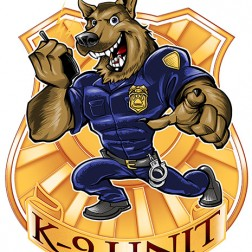 Mascot character design of a German Shepherd police dog