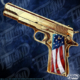 Smoking Golden gun with Amercian Flag on the Handle