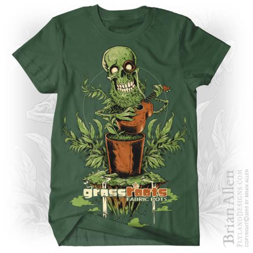 Skull and plant silk-screen t-shirt design