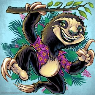 cartoon sloth animal in palm tre