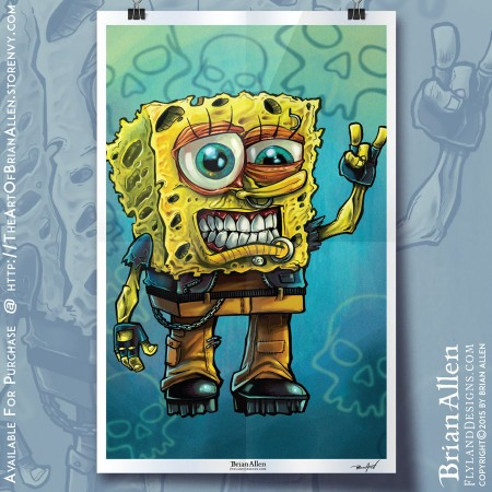 Art Print of Sponge bob as a punk rocker