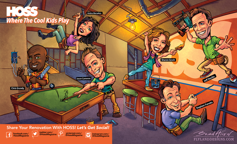 Double-page spread editorial illustration