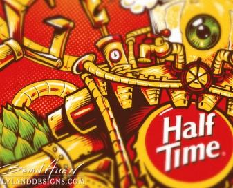 Beer label growler illustration design of a robot for silk-screening