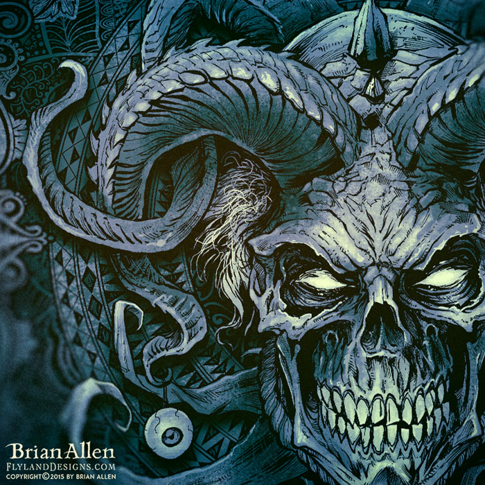 Evil skull jester album cover illustration
