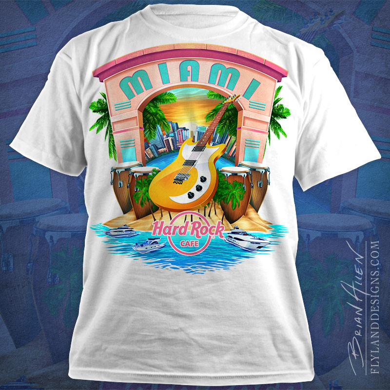 Hard Rock Cafe T-Shirt design of Miami, Florida