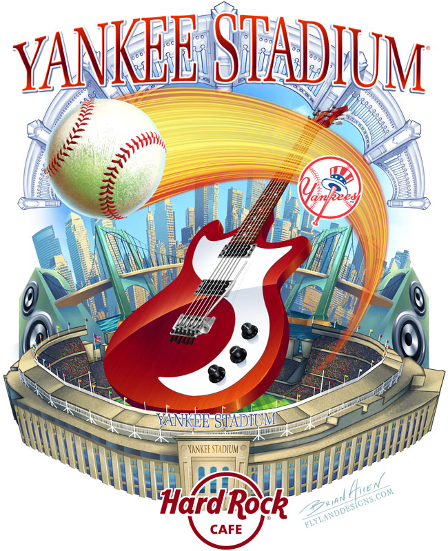 Hard Rock Cafe T-Shirt design of Yankee Stadium
