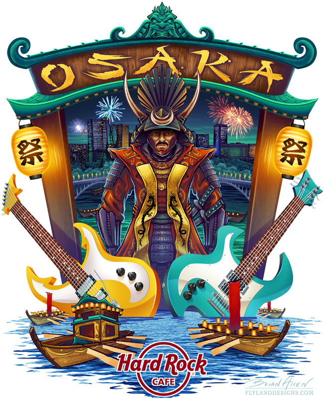 Hard Rock Cafe T-Shirt design of Osaka, Japan