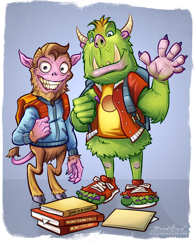 Colorful illustration of two monsters as high school students with backpacks