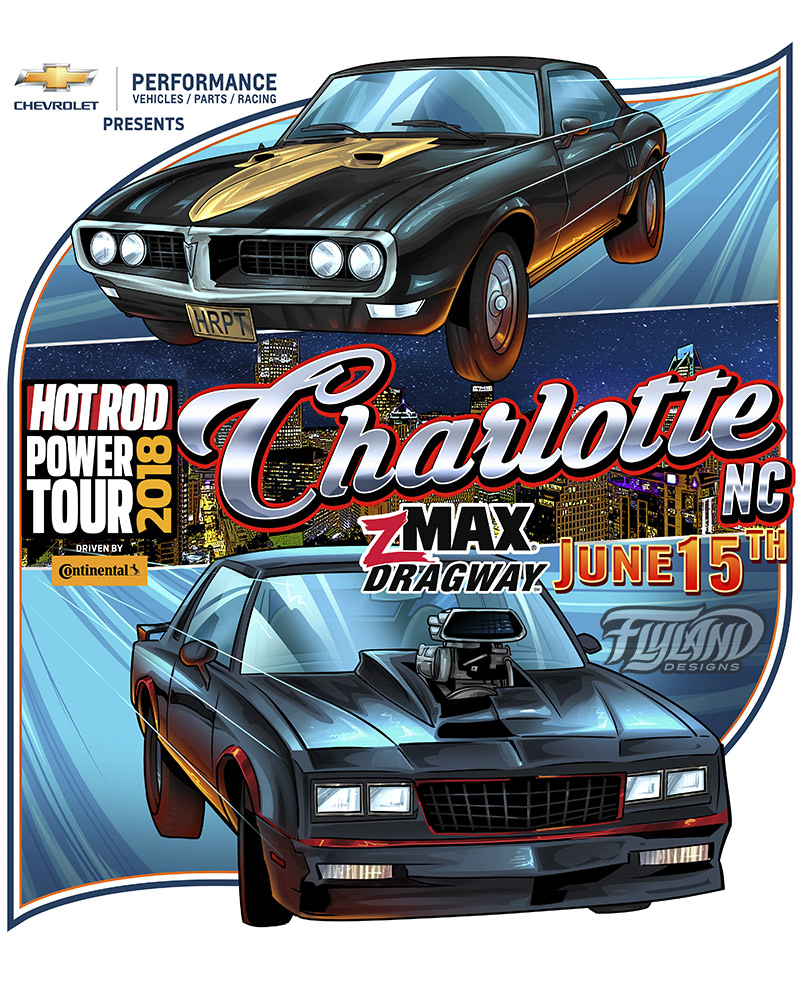 Two Hot rod cars with a city in