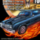 Hot rod muscle car with flames a