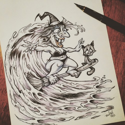 Halloween illustrations of a witch surfing a wave on her broomstick, a kid building a sandcastle on top of a buried zombie, a vampire getting a moon-tan, and a mummy being unravelled by a seagull exposing a little mummy butt