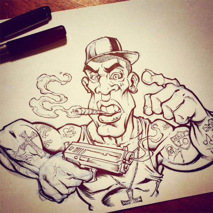 Criminal Character Art for Vaping Label Design