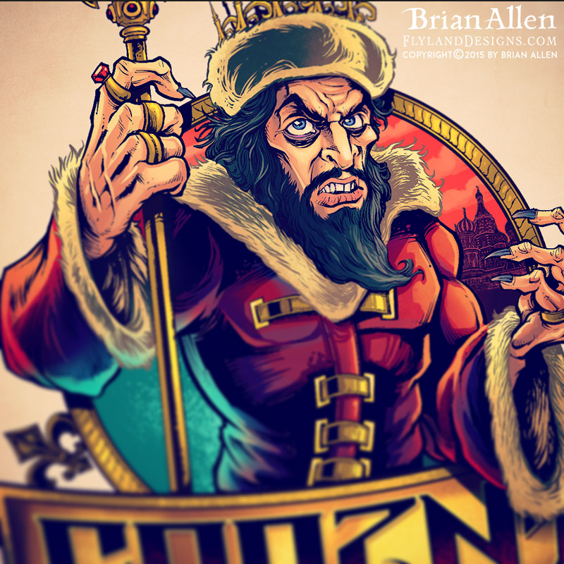 Caricature of Ivan The Terrible for a russebuss logo