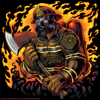Firefighter with ax and oxgen ma