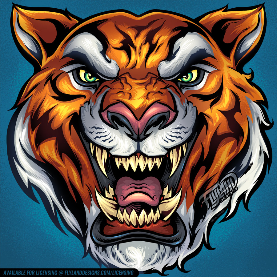 Orange Tiger head with black str