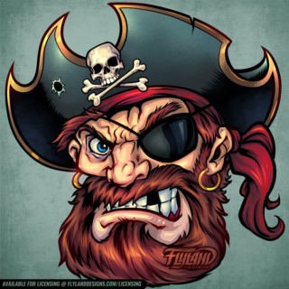 Pirate head with eye patch, gold