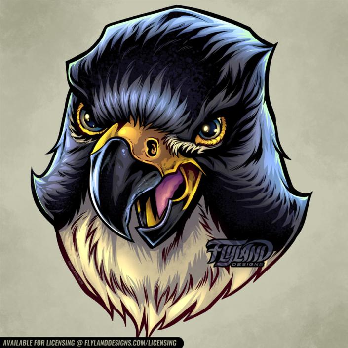Falcon head with beak open as if