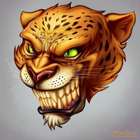 Sports mascot illustration of an angry jaguar head