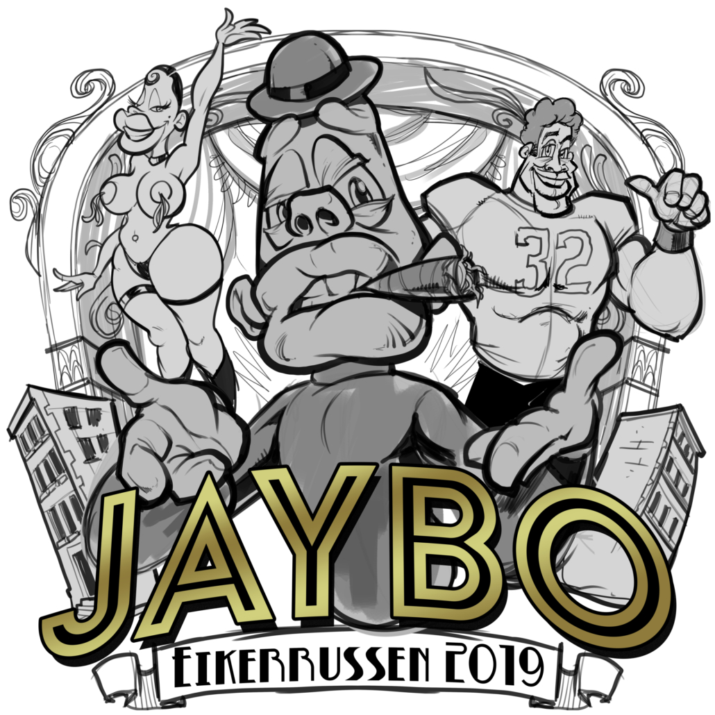 Jaybo character stands in front of his two friends with a cigar Russ Logo