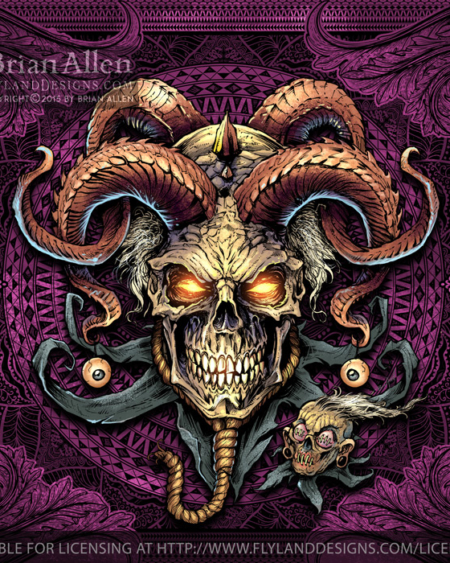 Evil Jester and Skull with Horns