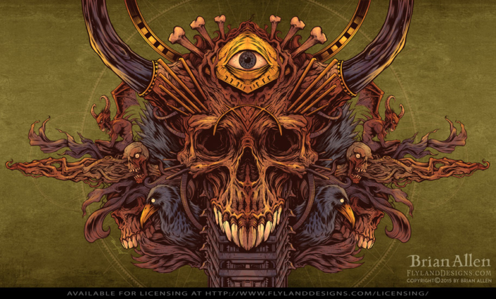 Detailed illustration of a skull, ravens, and pyramid eye