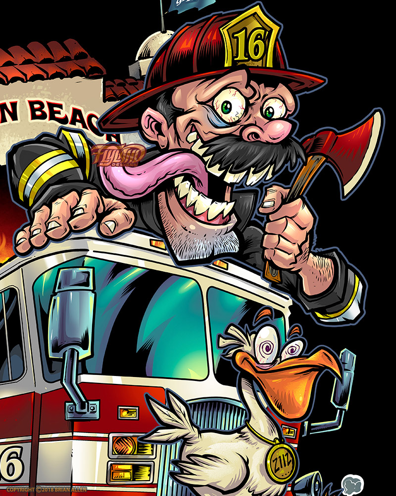 Firefighter mascot t-shirt desig