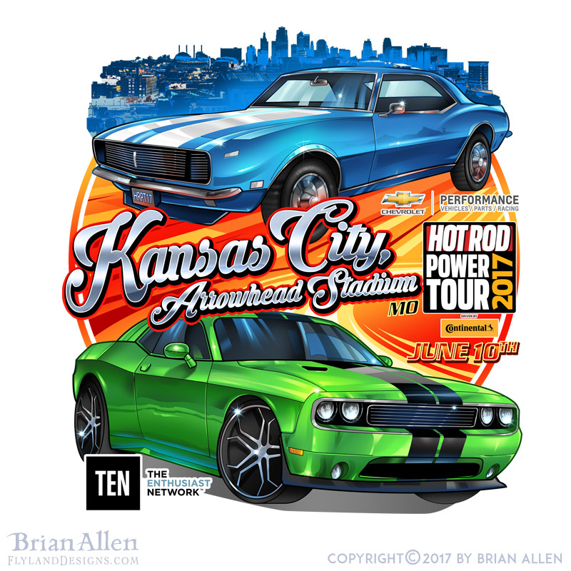 Hot rod muscle cars racing throu