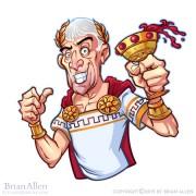 Russ logo of a cartoon Julius Caesar standing in front of a Caesar's Palace