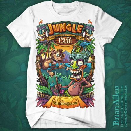 Cartoon jungle illustration of a monkey and tiki man illustrated for a DTG t-shirt template available for licensing.