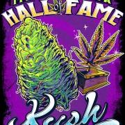 T-Shirt illustration of a Kush marijuana bud and trophy
