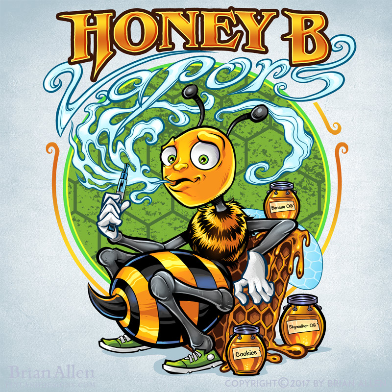 Honey bee cartoon mascot vaping
