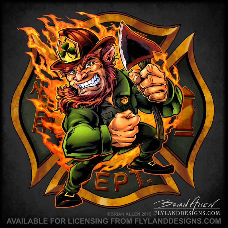 Fire-fighter Leprechaun with an axe standing on a Maltese Cross for T-Shirts for St. Patrick's Day