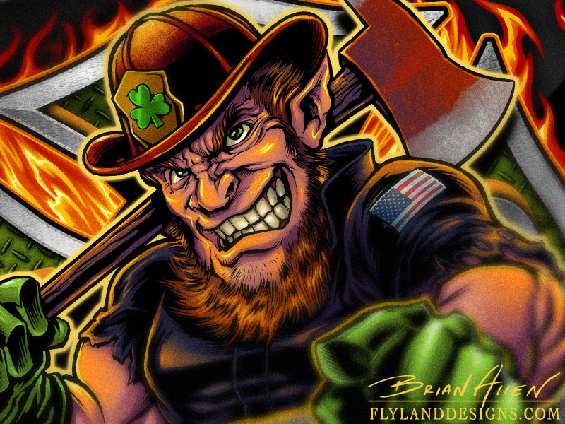 Custom t-shirt illustration of a fire-fighter leprechaun on a maltese cross