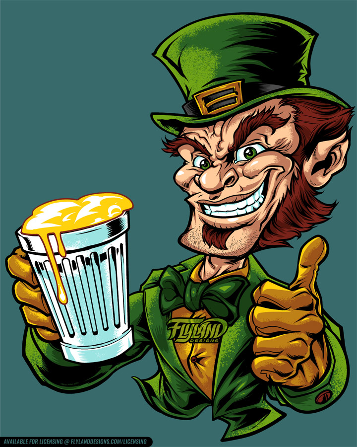 Leprechaun dressed in gold and g