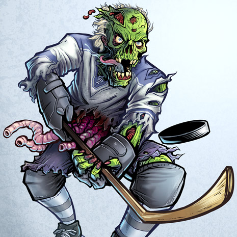 Hockey player zombie decal illustration