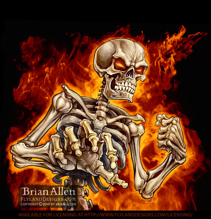 Skeleton on fire reaching out at