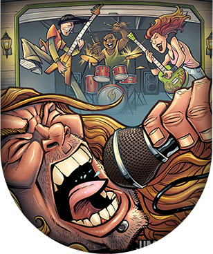 Cartoon rock singer on a microphone in a garage band