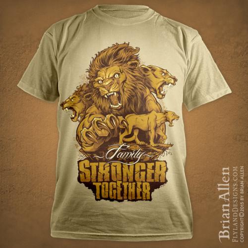 Pride of lions illustration silk-screen