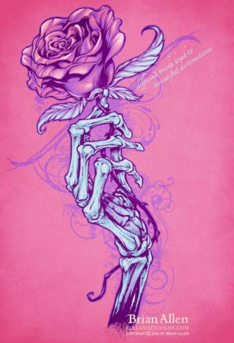 Skeleton hand holding rose silk-screen